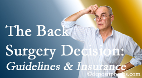 Vancouver Disc Centers notes that back pain sufferers may choose their back pain treatment option based on insurance coverage. If insurance pays for back surgery, will you choose that?