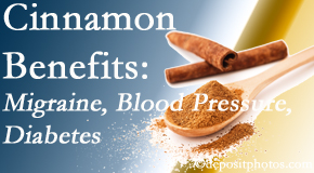 Vancouver Disc Centers shares research on the benefits of cinnamon for migraine, diabetes and blood pressure.
