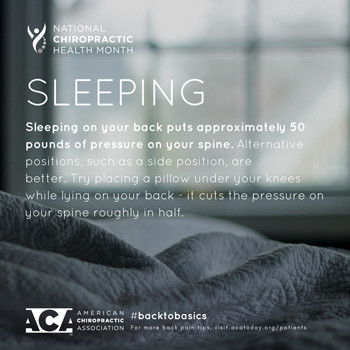 Vancouver Disc Centers recommends putting a pillow under your knees when sleeping on your back.